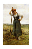 Peasant Woman Leaning on a Pitchfork Giclee Print by Julien Dupre