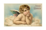 German Christmas Card with Raphael's Cherub Reproduction procédé giclée par  Raphael