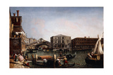 The Rialto Bridge, Venice with the Fondaco Dei Tedeschi in the Foreground Giclee Print by Michele Marieschi