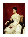 Crimson Roses and Lace, 1887 Giclee Print by Julius Leblanc Stewart
