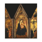 A Portable Triptych with the Madonna and Child Enthroned with Angels Giclee Print by Agnolo Gaddi