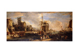 A Capriccio of a Mediterranean Seaport with Austrian Shipping, Merchants and Sailors on Quays in… Giclee Print by Luca Carlevaris
