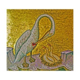 Mother Pelican Feeding Her Young with Her Own Blood, Kykkos Monastery, Troodos Mountains, Cyprus Giclee Print