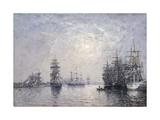 Le Havre, Eure Basin, Sailing Boats at Anchor, Sunset; Le Havre, Bassin De L'Eure, Voiliers a… Reproduction procédé giclée par Eugène Boudin
