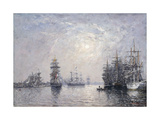 Le Havre, Eure Basin, Sailing Boats at Anchor, Sunset; Le Havre, Bassin De L'Eure, Voiliers a… Giclee Print by Eugene Louis Boudin