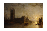 Westminster Abbey, the Houses of Parliament with the Construction of Westminster Bridge, 1859 Giclee Print by Henry Pether