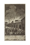 View of the Temporary Bridge of London as it Appeared on Fire on the Night of 11 April 1758 Giclee Print by Samuel Wale