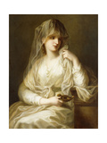 Tuccia, the Vestial Virgin, Three Quarter Length, Holding a Lamp Giclee Print by Angelica Kauffmann