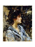 Young Woman in Blue - Miss H. Strom Giclee Print by James Jebusa Shannon