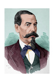 Narciso Campero (1815-1896). Engraving. Colored Giclee Print by Arturo Carretero y Sánchez