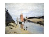 Breakwater at Trouville, Low Tide, 1870 Giclee Print by Claude Monet