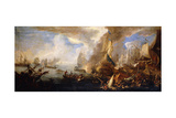 A Sea Battle with Sardinian and Venetian Warships and Sardinian and Egyptian() Galleys in the… Giclee Print by Luca Carlevaris