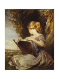 A Young Girl Seated under a Tree with a Sketch Book Giclee Print by George Richmond