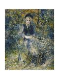 Young Girl on a Bench; La Jeune Fille Au Banc, 1875 Giclée-tryk af Pierre-Auguste Renoir