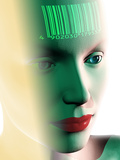 Barcode on a Woman's Head Photographic Print by Laguna Design
