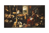 A Cook in a Well-Stocked Kitchen with a Serving Woman Giclée-tryk af  Italian School