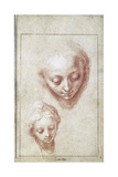 Two Studies of the Head of the Virgin Lámina giclée por Abraham Bloemaert