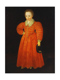 Portrait of a Little Boy, Standing Full Length Wearing a Red Dress Within a White Lace Collar,… Giclee Print by Robert, the Elder Peake