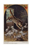 Scene from the Wolf and the Seven Young Kids, by the Brothers Grimm Giclee Print by Oskar Herrfurth