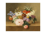 Iris, Lilac, Primulae, Blossom and Peonies in a Basket Giclee Print by Johan Laurents Jensen
