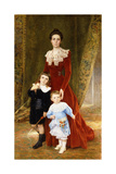 Portrait of a Lady, Standing Full Length, with Her Children Giclee Print by Timoleon Marie Lobrichon