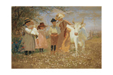 Family Group with Cow, C.1888 Giclee Print by Louis Comfort Tiffany
