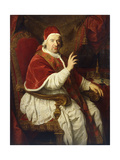 Portrait of Pope Benedict Xiv (1675-1758), Seated Three-Quarter-Length, His Right Arm Raised in… Giclee Print by Pierre Subleyras