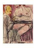 Female Nude and Man Sitting at a Table; Weiblicher Akt Und Mann an Einem Tisch Sitzend Giclee Print by Ernst Ludwig Kirchner