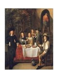 Elegant Company at a Table on a Terrace Giclee Print by Gillis Van Tilborch