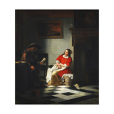A Gentleman Reading a Letter to His Wife Giclee Print by Pieter de Hooch