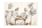 Ladies Cutting Out Silhouettes: and Ladies Conversing in an Interior Giclee Print by Edward Francis Burney