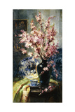 Apple Blossoms and Blue and White Porcelain on a Table Giclee Print by Frans Mortelmans