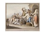 Neopolitans Eating Macaroni; Napolitani Mangia Maccaroni Giclee Print by Saviero Xavier Della Gatta