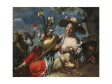 A Shepherdess Reclining with a Rabbit, a Hound and a Ram Giclee Print by Peter Wtewael