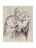 Saint Joseph Holding the Christ Child Giclée-tryk af Il Sassoferrato