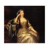 Portrait of Mrs. Tyrell, Three-Quarter-Length, in a White Satin Dress and Blue Shawl, Her Right… Giclee Print by Jacob Huysmans