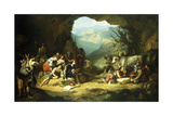 The Studio of Salvator Rosa in the Mountains of the Abruzzi Giclee Print by Thomas Jones Barker