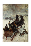The Sled Race, 1877 Giclee Print by Edmond Morin