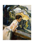 Frieda, the Artist's Wife, Leaning over the Balcony Giclee Print by Leo Putz