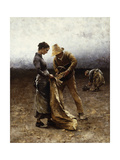 The Potato Gatherers Giclee Print by August Wilhelm Nikolaus Hagborg