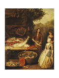 A Fishmonger Displaying a Pike to a Maid, 1727 Giclee Print by Pierre Angelis or Angillis