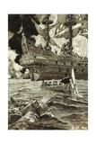 A Business Transaction: the Admiral Came in His Gig of State Giclee Print by Howard Pyle