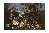 A Peacock and a Penhen with Fruit and Flowers in a Park Giclee Print by Franz Werner Tamm