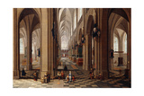 The Interior of a Gothic Cathedral with Townsfolk and Pigrims, 1647 Giclee Print by Pieter The Elder Neeffs