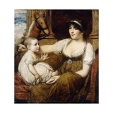 A Mother Holding a Hobbyhorse, Playing with Her Child Giclee Print by Daniel Gardner