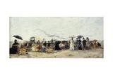 Trouville, Beach Scene; Trouville Scene De Plage, 1879 Giclee Print by Eugène Boudin