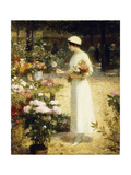 At the Flower Market Giclee Print by Victor Gabriel Gilbert