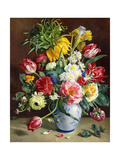 Tulips, Roses, Narcissi and Other Flowers in a Blue and White Vase Giclee Print by R. Klausner