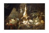 A Hare and Snipe Hanging from a Game-Ring, Fruit in a Wanli Kraak Porselein Bowl, Figs, Dead… Giclee Print by Adriaen van Utrecht