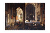 A Church at Night with a Priest Celebrating Mass in a Side Chapel Giclee Print by  Pieter Neeffs and Frans Francken